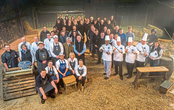 """A wide range of people who work in different parts of the Scottish beef industry - farmers, butchers, chefs, quality assurance assessors, auctioneers as well as representatives from the veterinary, haulage and processing sectors – came together to film the new Scotch Beef PGI """"Know Your Beef"""" TV advert."""