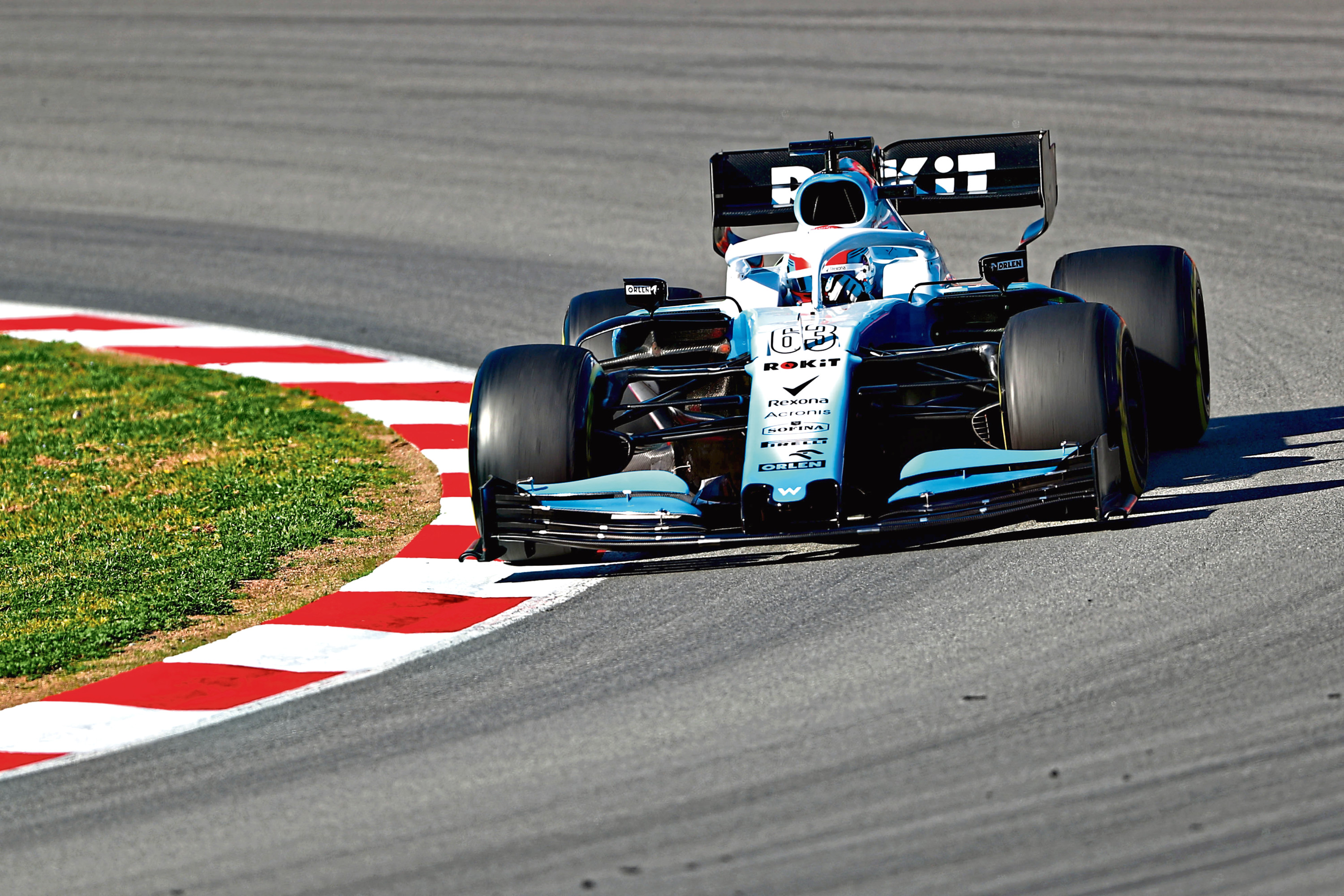 MONTMELO, SPAIN - FEBRUARY 26: George Russell of Great Britain driving the (63) Rokit Williams Racing FW42 Mercedes on track during day one of F1 Winter Testing at Circuit de Catalunya on February 26, 2019 in Montmelo, Spain. (Photo by Dan Istitene/Getty Images)