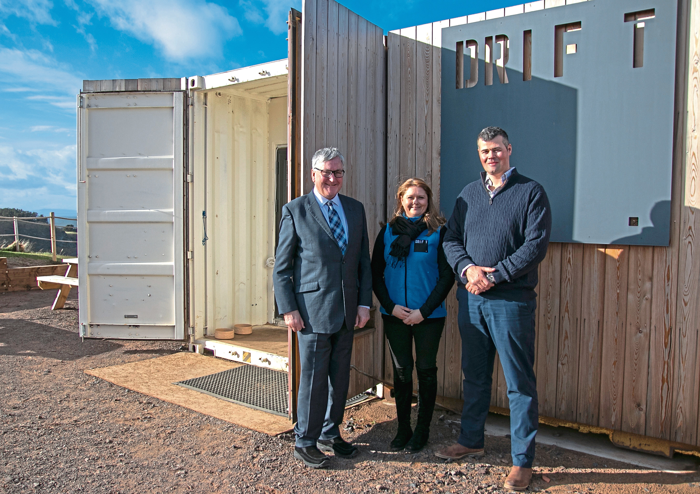 Fergus Ewing, Rural Economy Secretary, visits Drift cafe near North Berwick. Also photographed are Stuart and Jo McNicol of Drift, Castleton Farm.