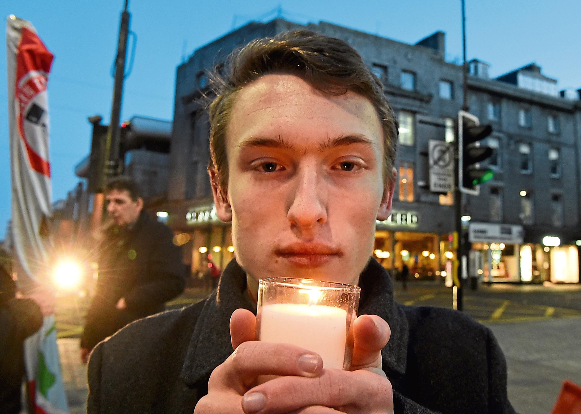 Sasha Brydon MSYP during a vigil at St Nicholas Square. Picture by Jim Irvine,