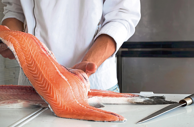 Chef's hand holding fresh piece of salmon  istock