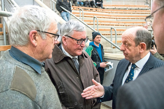 Rural Economy Secretary Fergus Ewing met United Auctions managing director George Purvis and farmers at Stirling Mart