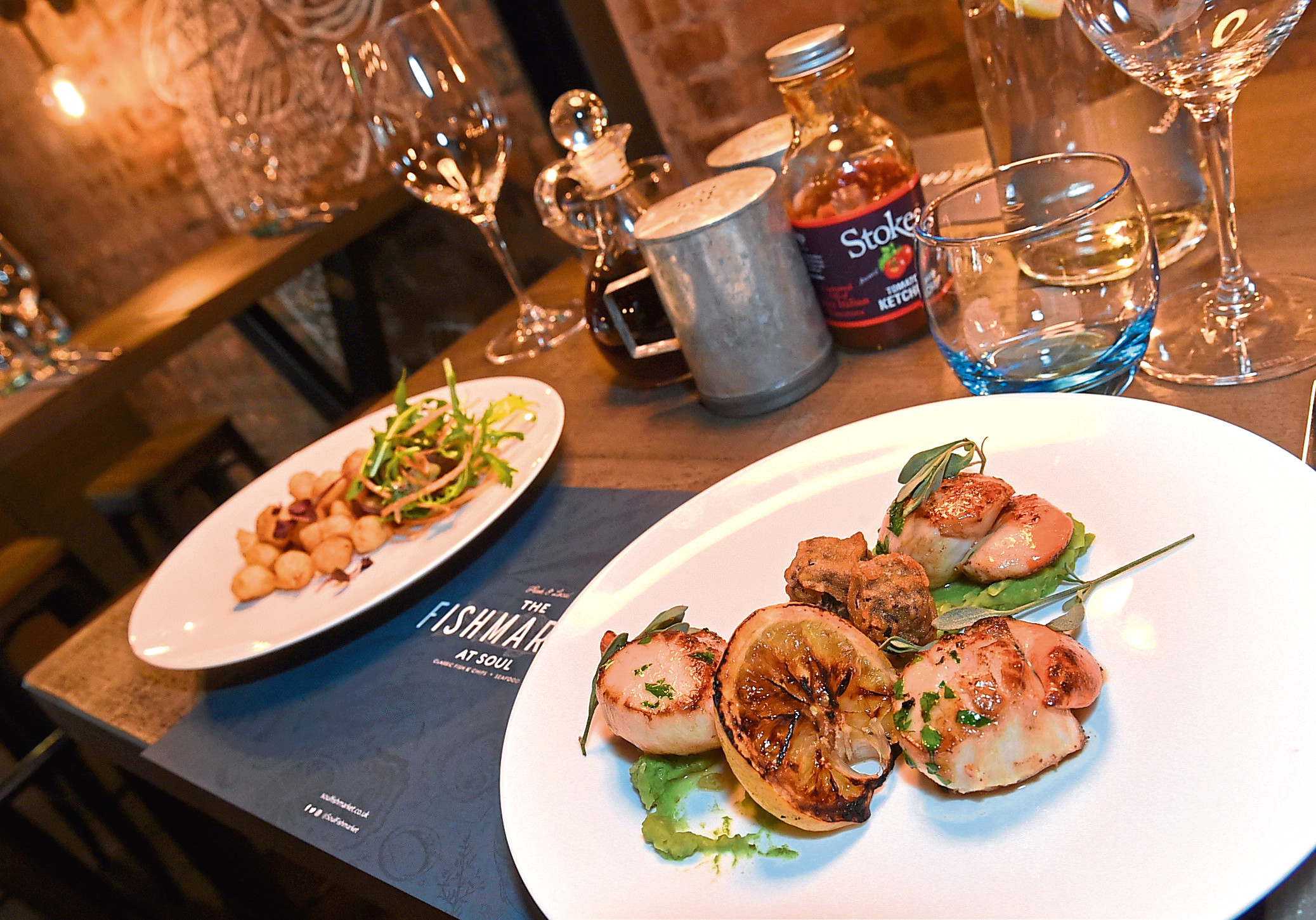 Scallops with pickled baby onions. Pictures by Jim Irvine