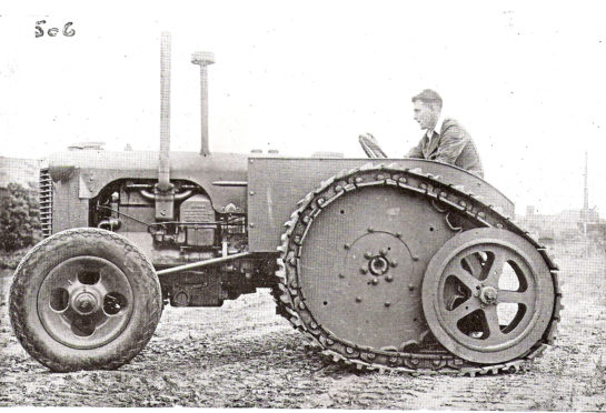 A wartime Case D tractor fitted with Roadless's DG half track system  which gave extra traction in both agricultural and military situations.