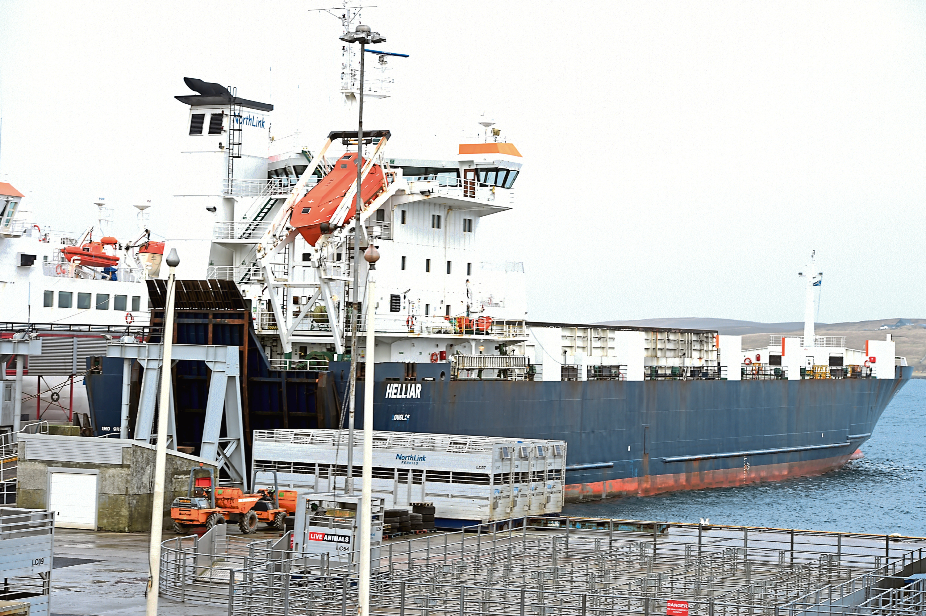 Up Helly Aa, Lerwick, Shetland: locator of Lerwick. In the picture is the Lewick terminal.   Picture by Jim Irvine  25-1-16  freight boat Helliar