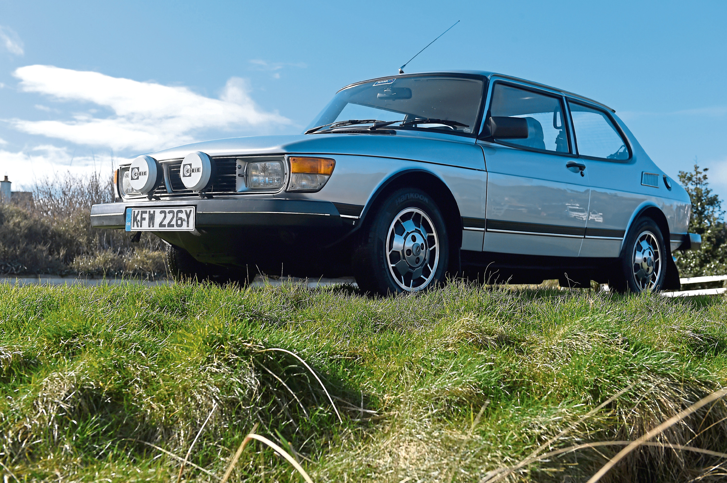 The 1982 Saab 99GL photographed at the seafront in the village of Rosemarkie. Pictures by Sandy McCook.