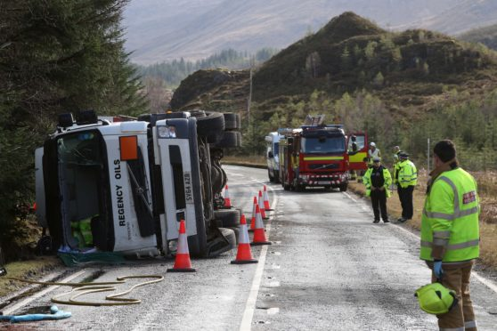The driver of an oil tanker was airlifted to hospital yesterday after his vehicle overturned on the A87, around seven miles east of Glen Shiel.