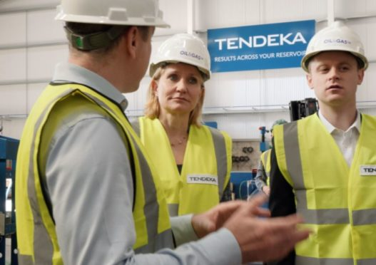 OGUK chief executive Deirdre Michie with report authort Ross Lynch visiting Tendeka ahead of the report launch