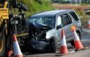 The ram raiders' crashed car.