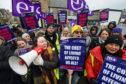 EIS members on strike in Elgin outside Richard Lochhead's office.