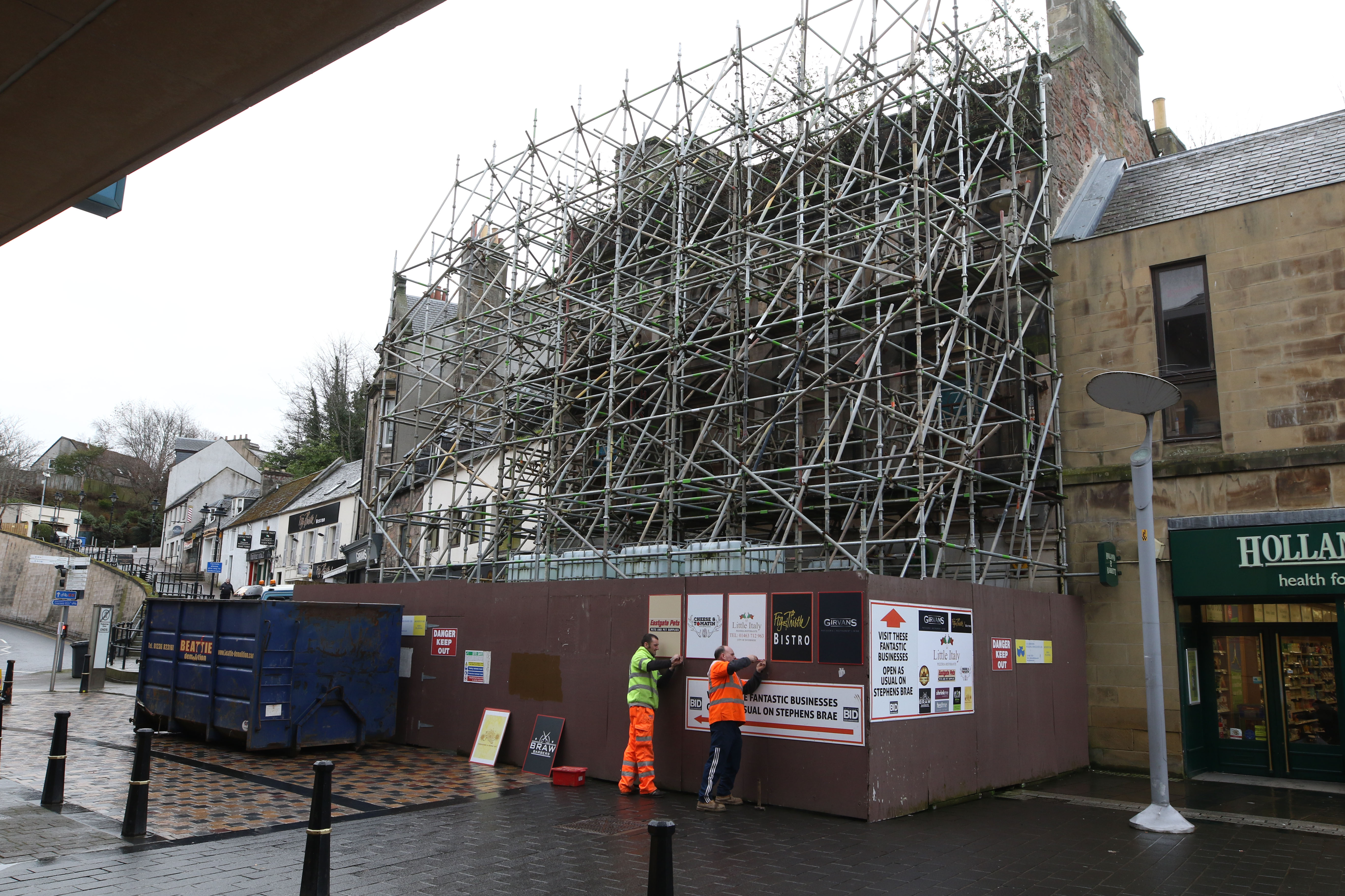 Demolition work yesterday began at the Eastgate Hostel in Inverness.