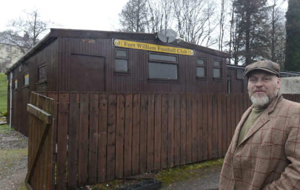 Fort William FC Committee member, Colin Wood outside the club which  was part of a weekend crime spree.