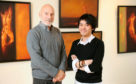 PSYBT: Painter Frank To with actor Patrick Stewart (left) who was the subject of one of his paintings. Pictured in front of some of his work which is on display in the Leith Gallery in Edinburgh. Pic free for first use relating to PSYBT April 2009. © Malcolm Cochrane Photography +44 (0)7971 835 065 mail@malcolmcochrane.co.uk No online use No syndication No reproduction without permission