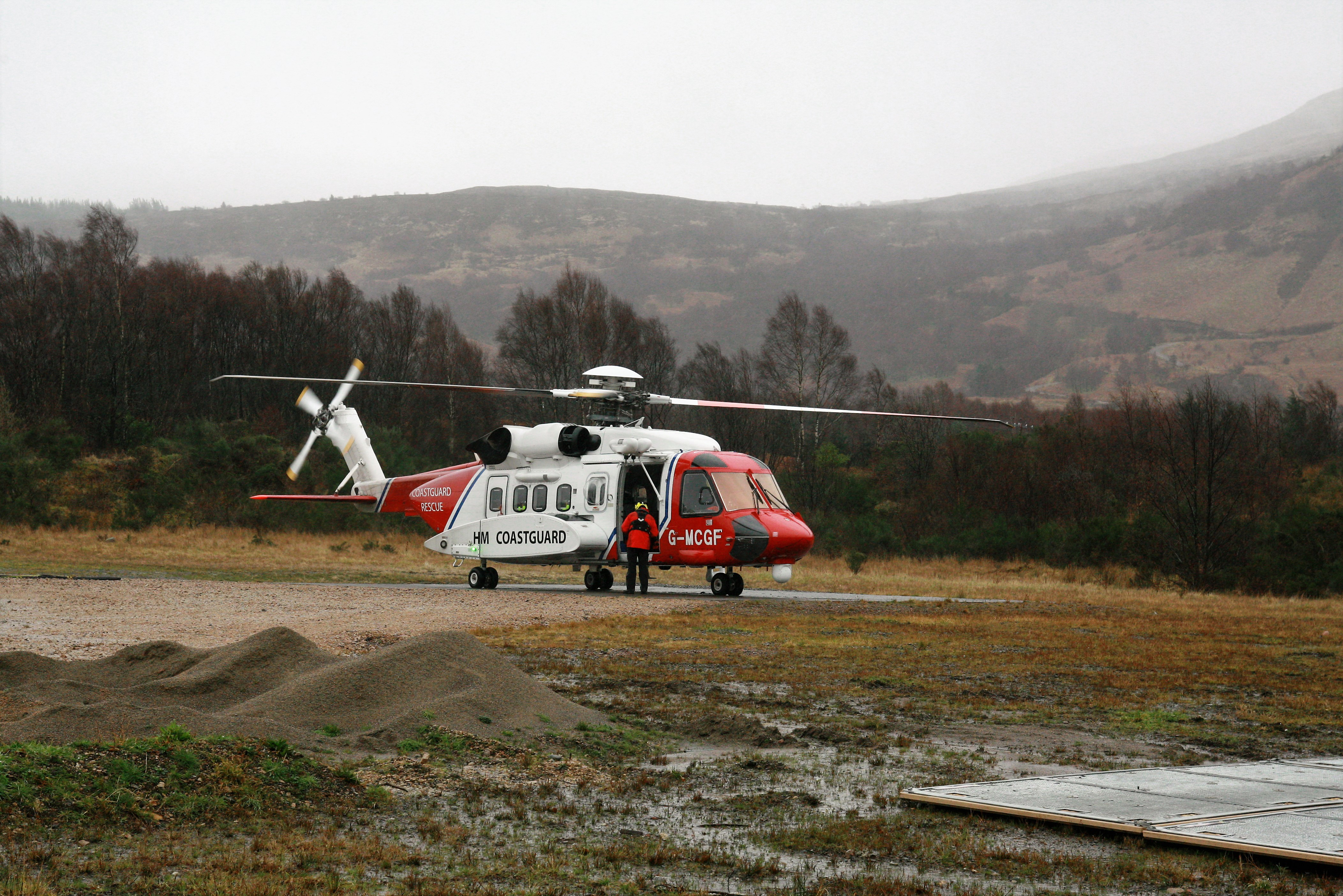 The coastguard search and rescue helicopter is also on scene helping with the rescue efforts.
