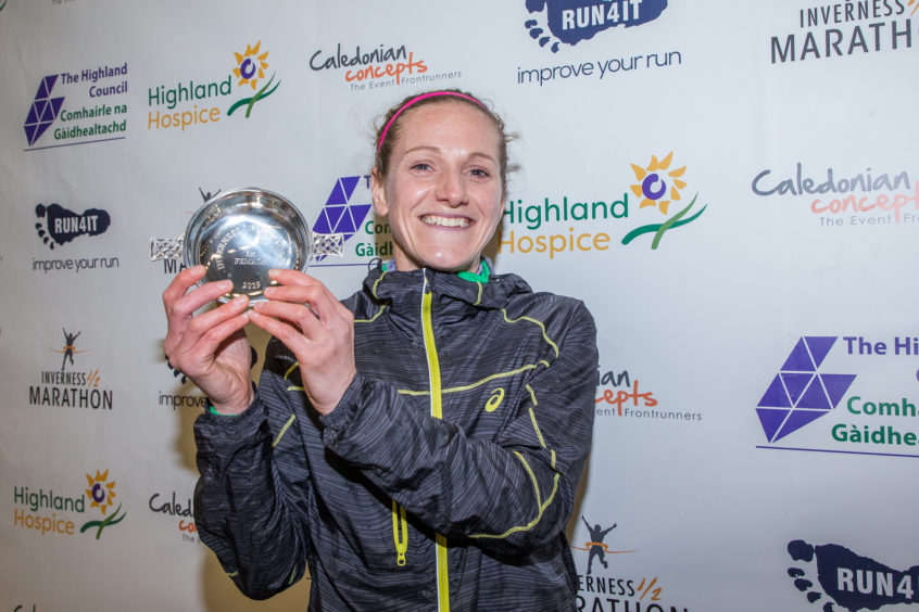 Liz Abbot wins the female  Inverness 1/2 Marathon in a time of 1:16:52.