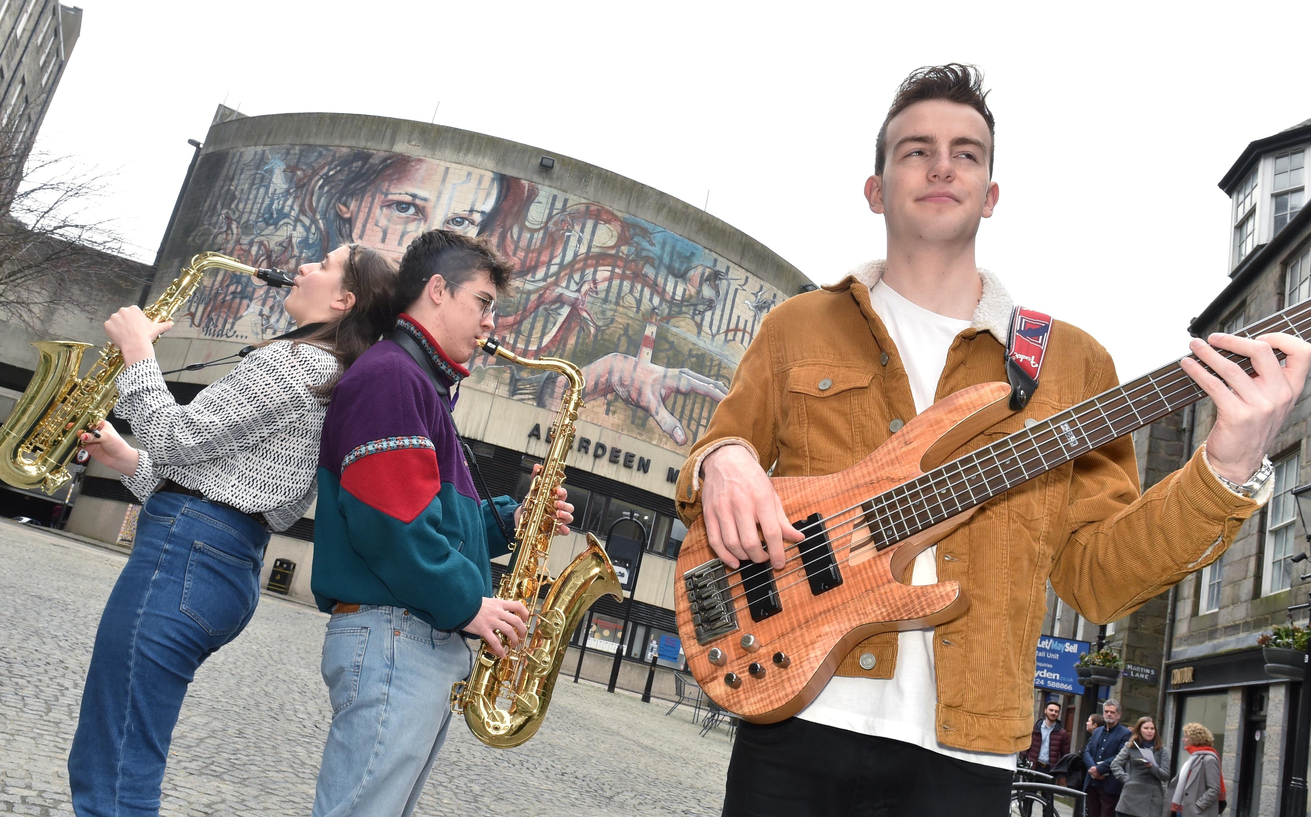 Jazz players Josie Fairley Keast, Matthew Kilner and Finley Campbell.