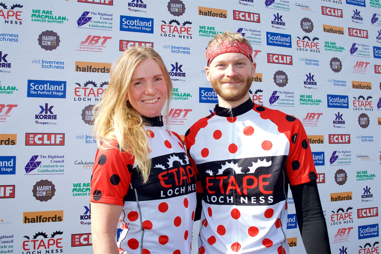 Lee Craigie the fastest woman around Etape Loch Ness joined by the fastest man around the course in 2016, James Davidson.