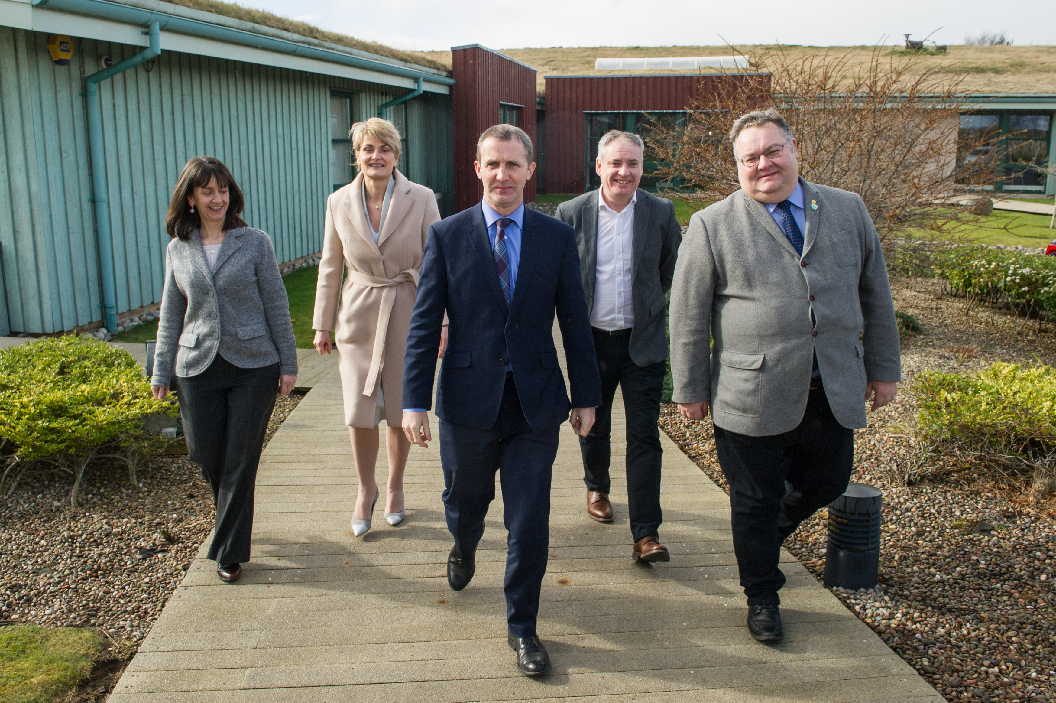 The Scottish Government's minister for transport, infrastructure and connectivity, Michael Matheson, has visited Moray to hear progress on a growth deal. Pictured: Donna Chisholm, HIE's Moray manager, Rhona Gunn, Moray Council's economic development director, Michael Matheson, Moray MSP Richard Lochhead, Moray Council leader Graham Leadbitter.