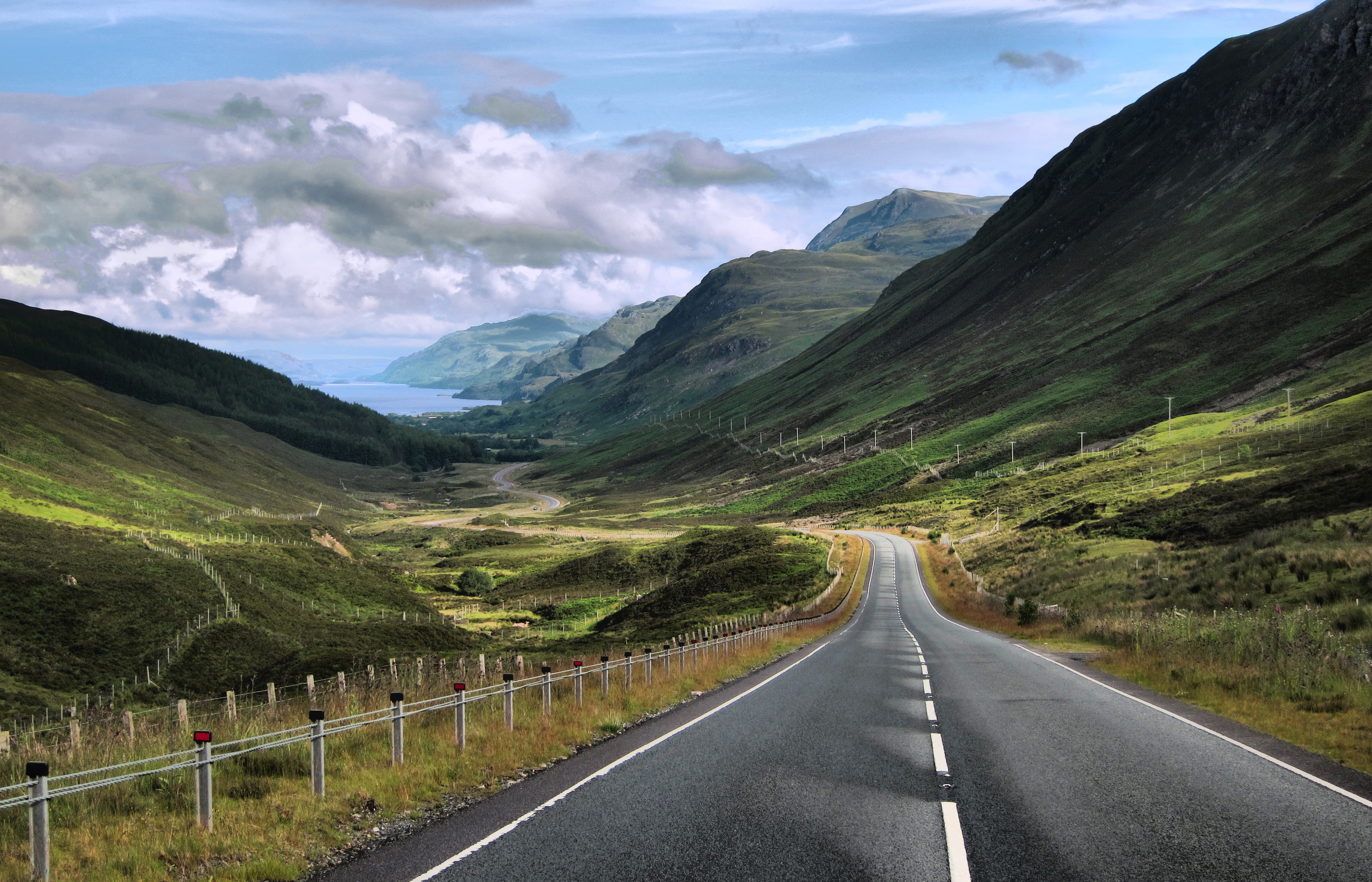 Stretch of the North Coast 500 at Glen Docherty in Wester Ross.