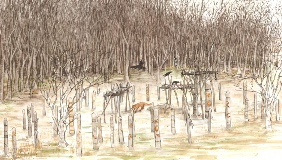 An artists impression of the Neolithic site at Aden Country Park