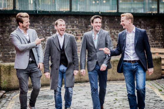 The usual Opera Boys line-up. For this show, Colin Bryce (second right)  was replaced by Nathan Winn (not pictured).