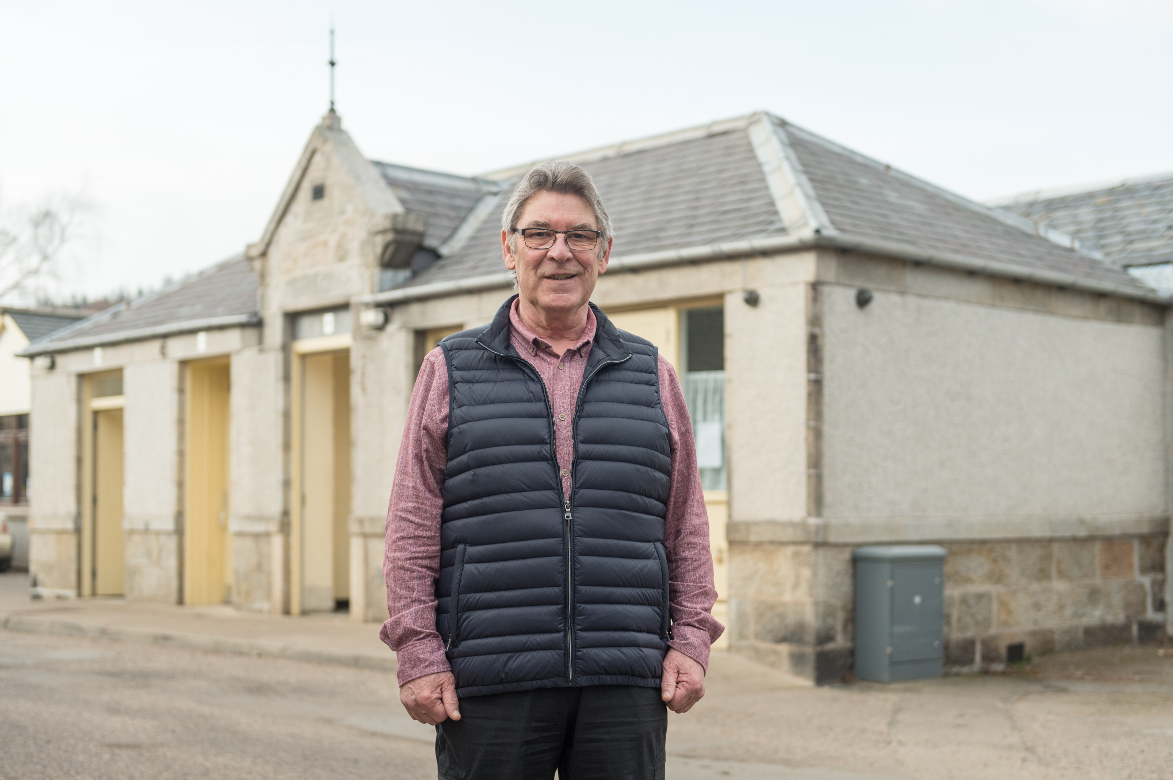 Picture by JASON HEDGES      Ben Hinnie (Vice Chair of Aberlour Community Association and Visitor Centre Volunteer) is pictured outside of Aberlour public toilets in Moray.