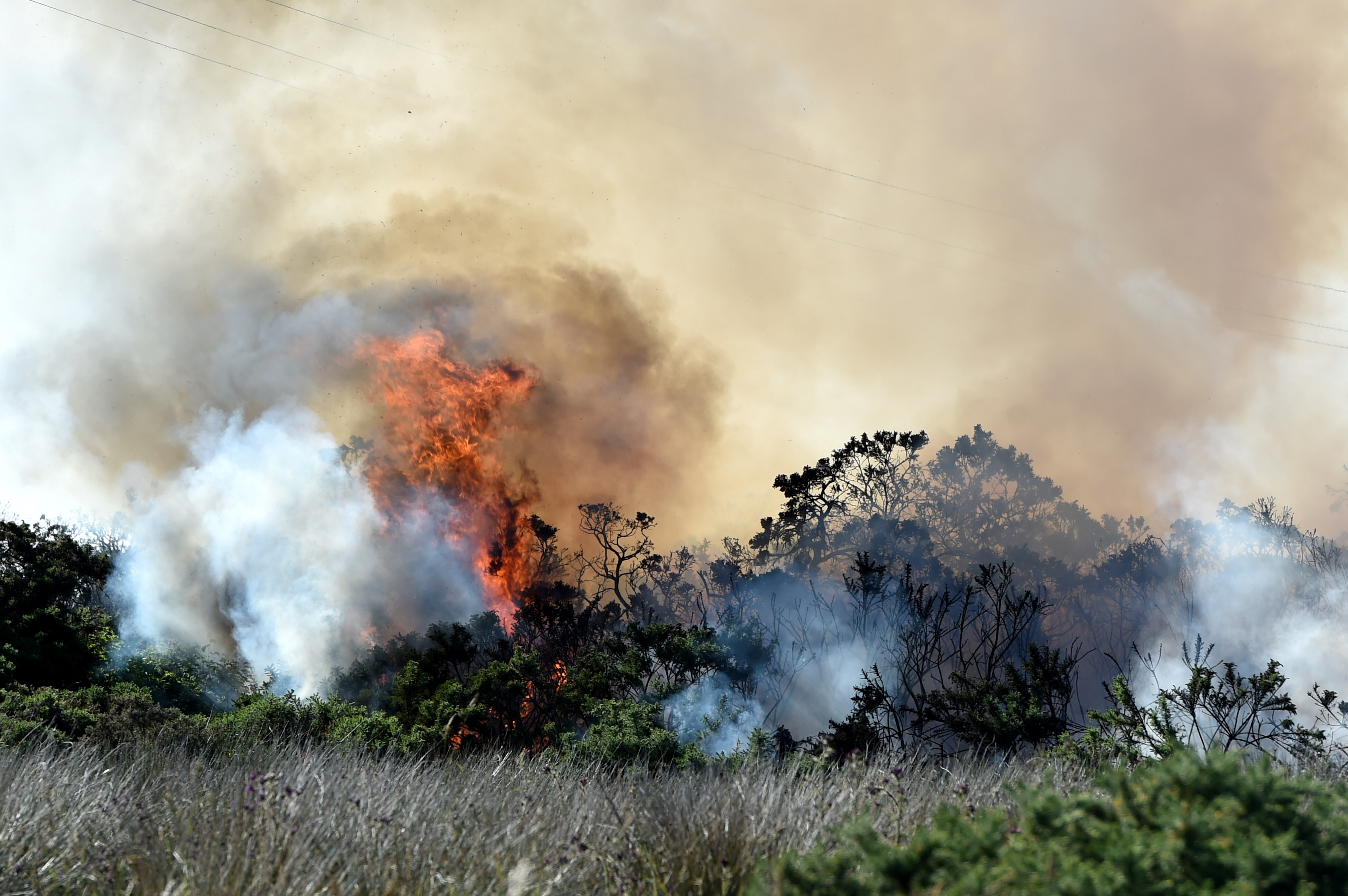 A wildfire on a patch of land between Newhills, Bucksburn and Kingswells.