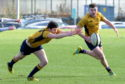 Gordonians (gold) v Ardrossan Academicals (blue). Picture of Daryll Morrow going for a loose ball.  Picture by KENNY ELRICK