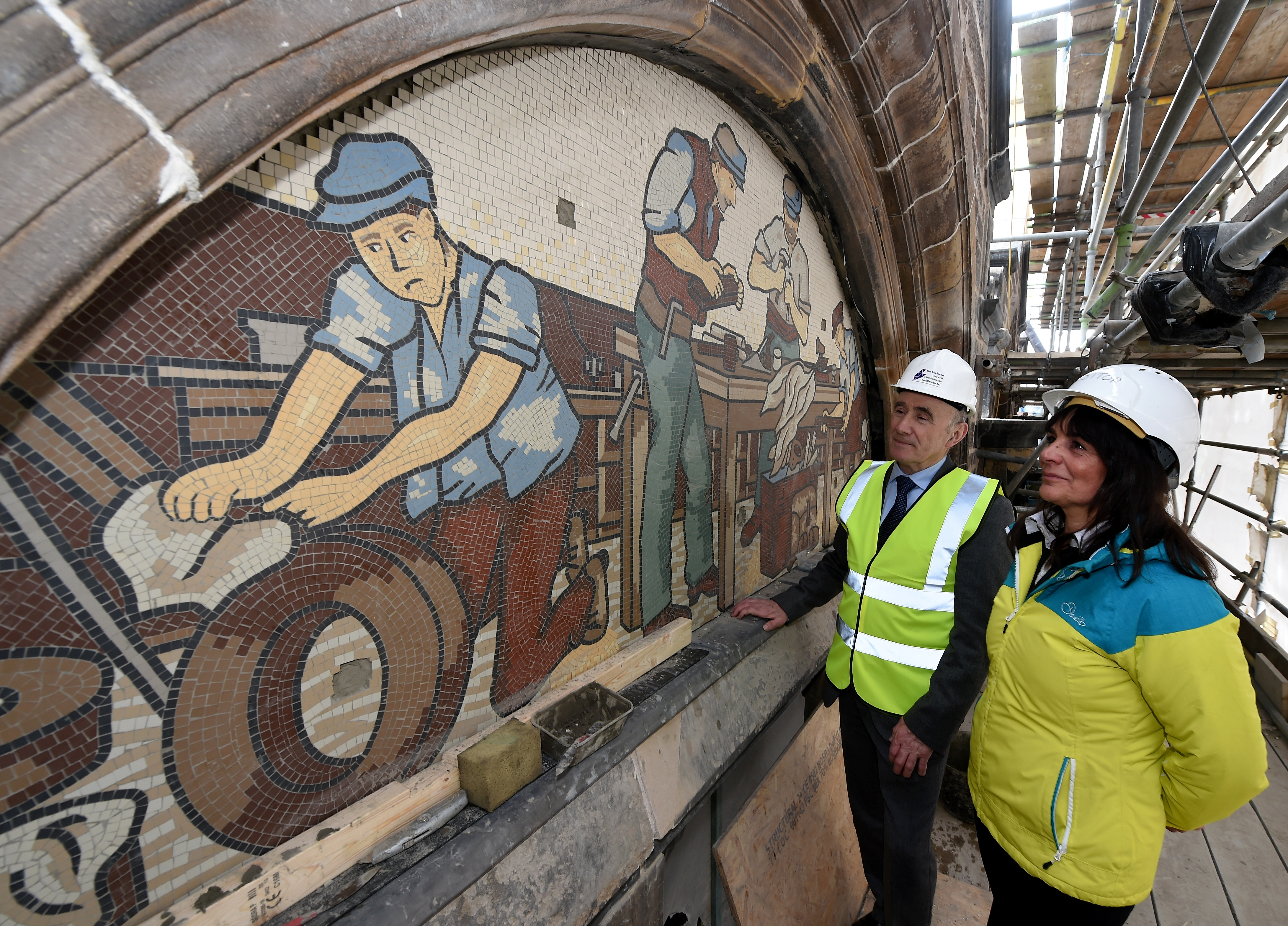 Restoration of the mosaic panels on the AI Welders building on Academy Street,