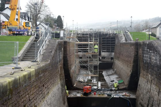 Engineers at work on the Caledonian Canal
