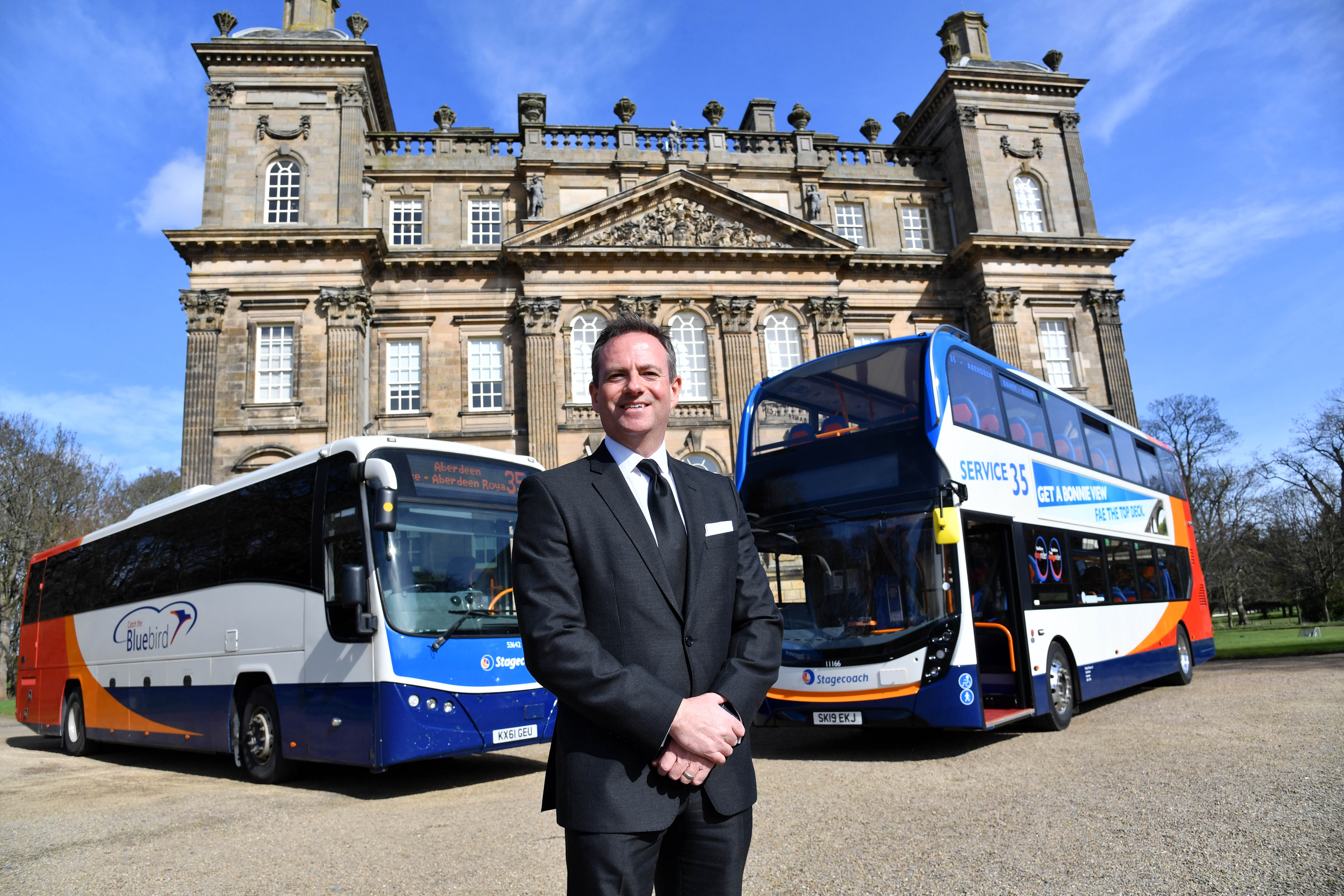 Managing director David Liston with the old and the new outside Duff House.