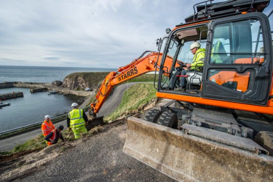 Work has begun to prevent landslips in Portknockie.