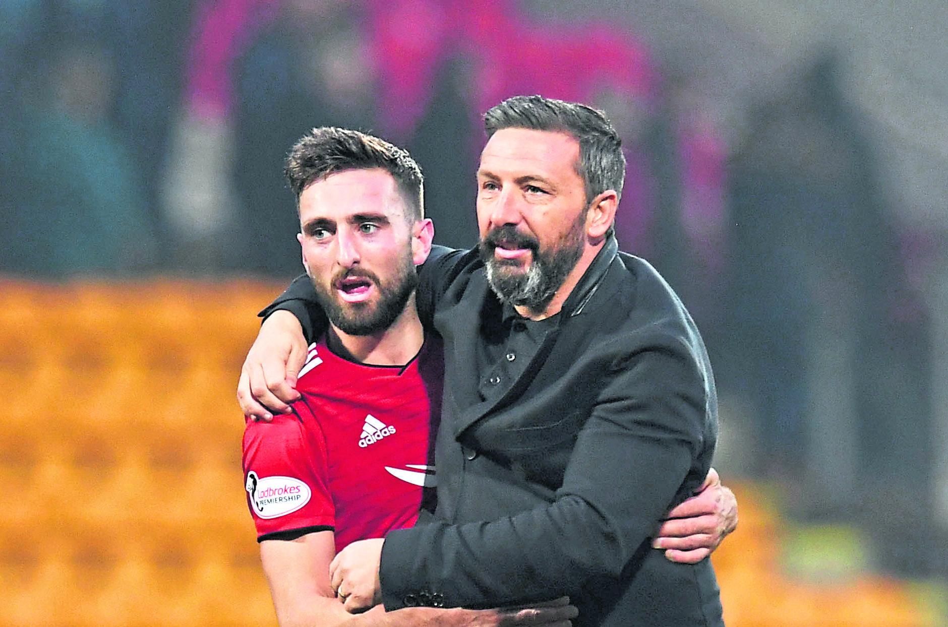 Aberdeen's Graeme Shinnie (L) with manager Derek McInnes