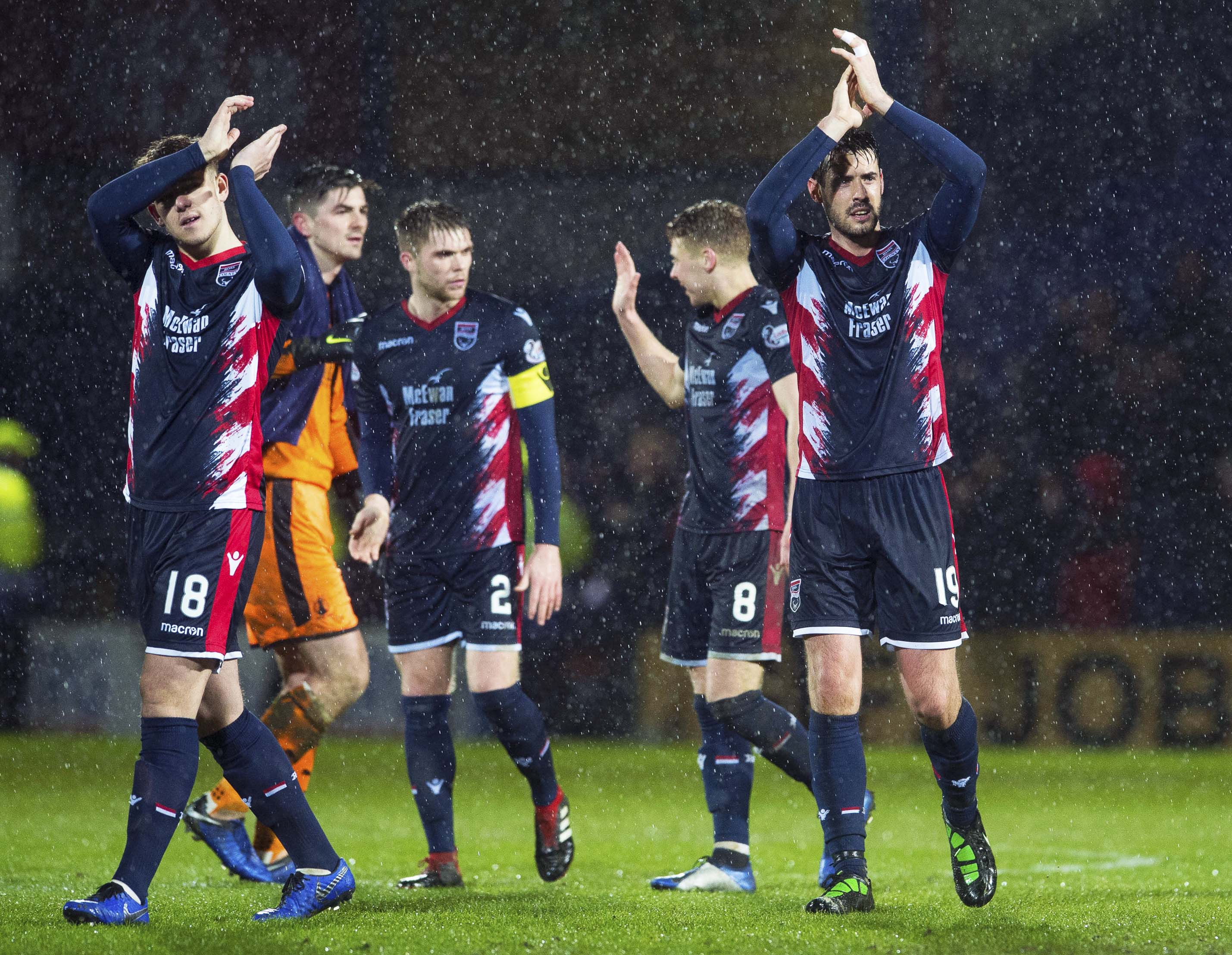 Callum Semple (far left) came on in last Tuesday's win over Falkirk.