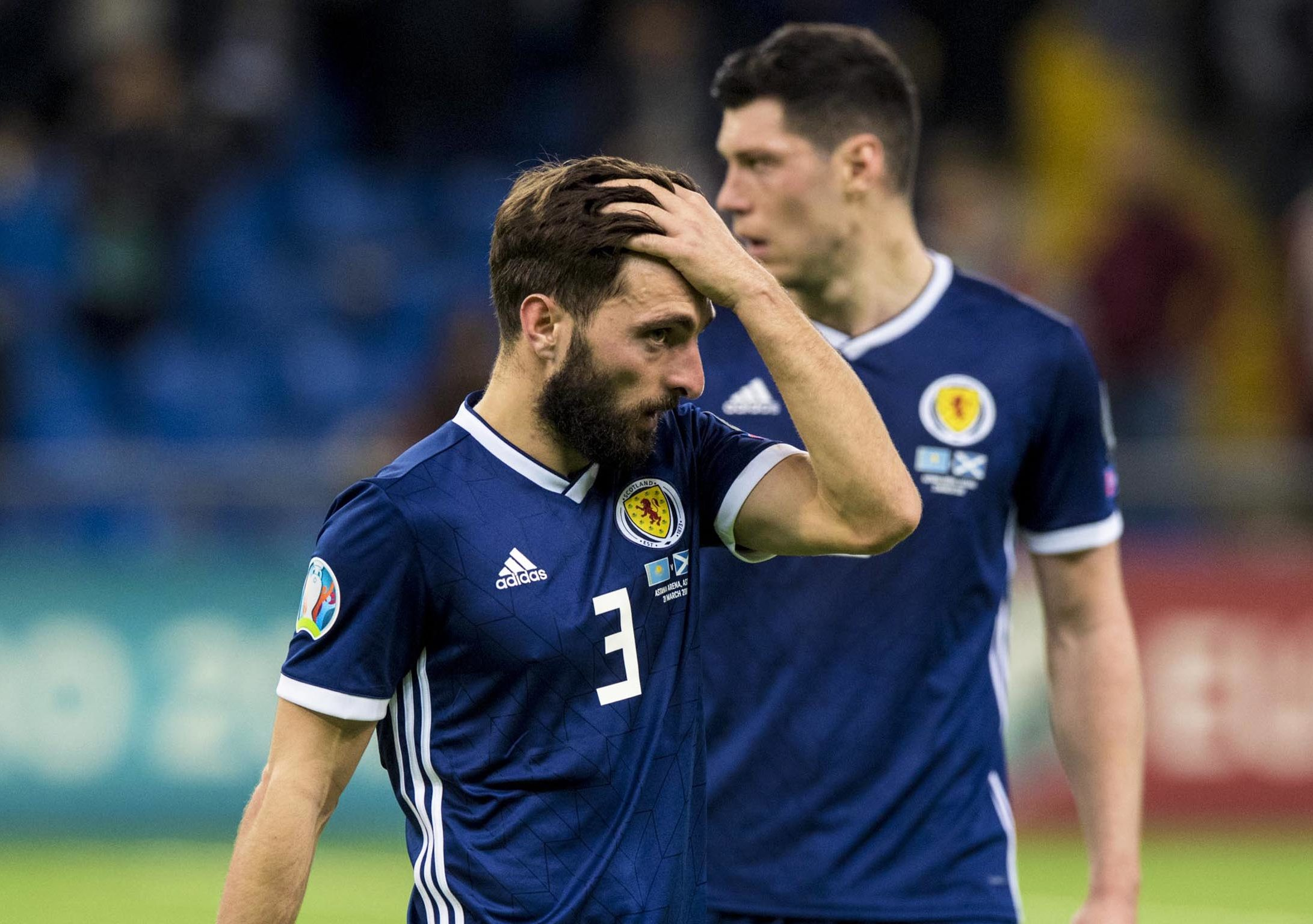 Scotland's Graeme Shinnie show's his frustration at full-time.