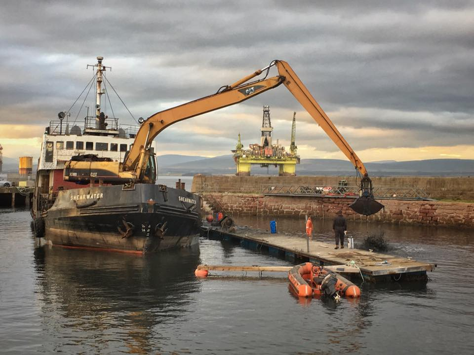 Moray Council's former dredger Shearwater at Cromarty in December 2018.