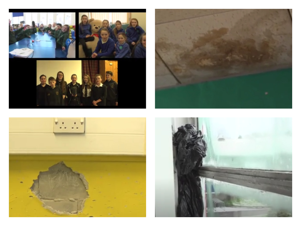 Screengrabs from the pupils' video revealing the condition of their schools