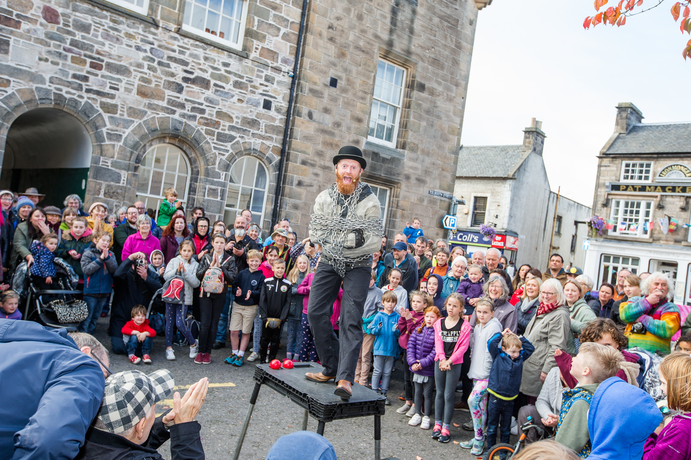 Performer Todd Various performs at Culture Day in Forres as part of the festival.