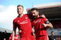 Aberdeen's Sam Cosgrove celebrates his goal with Graeme Shinnie after he scored from the penalty spot to put the Dons ahead