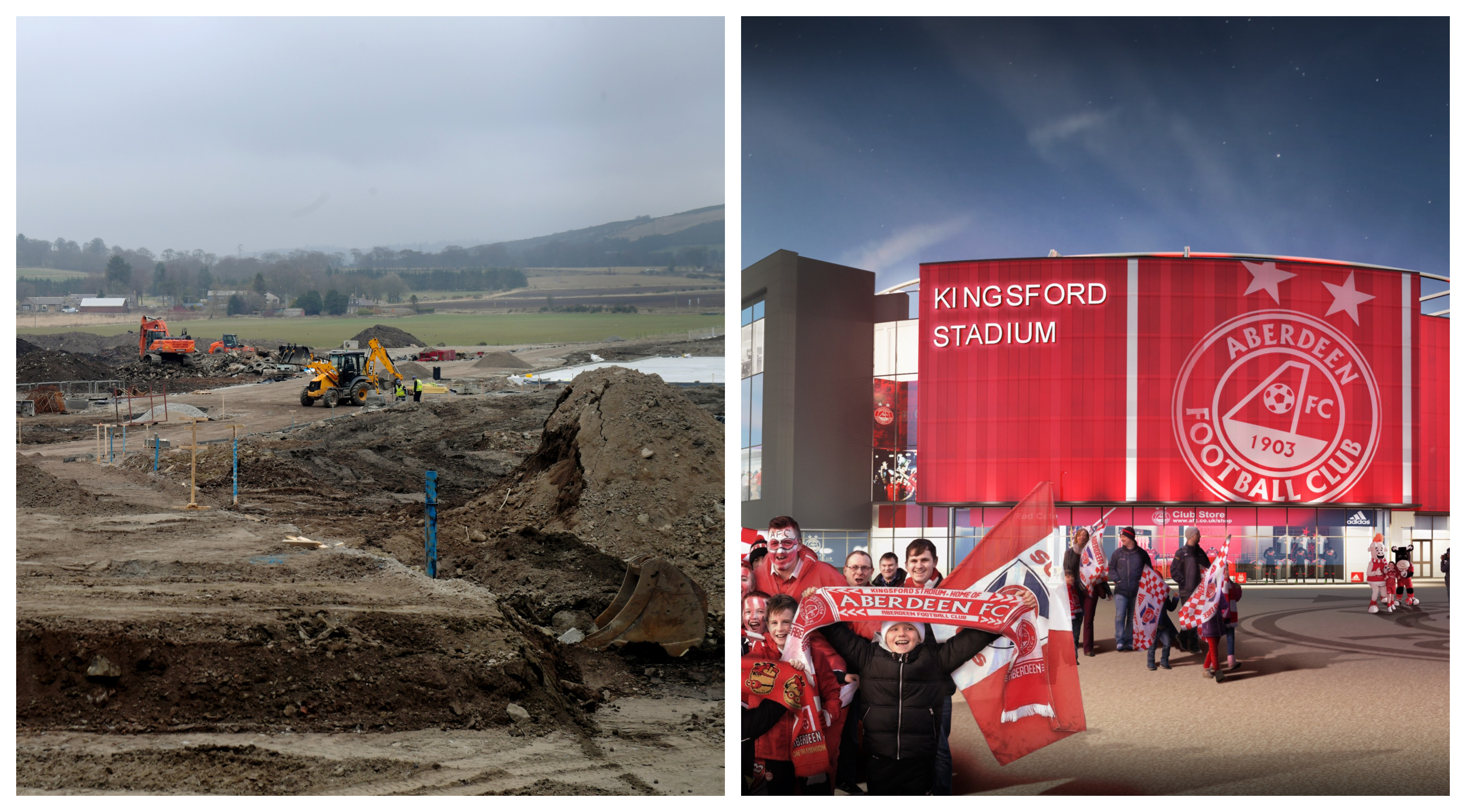 The construction site (left) and an impression of the final project.