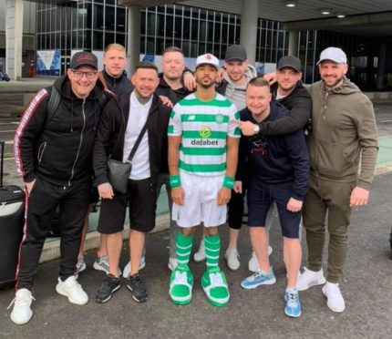 Aberdeen defender Shay Logan has been forced to wear a Celtic strip for his stag do