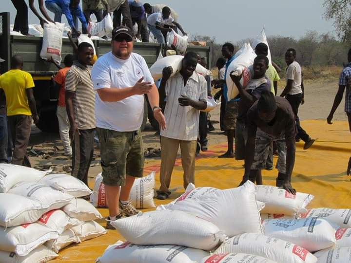 Ruaridh Waddell helping with relief efforts in Malawi after the cyclone.