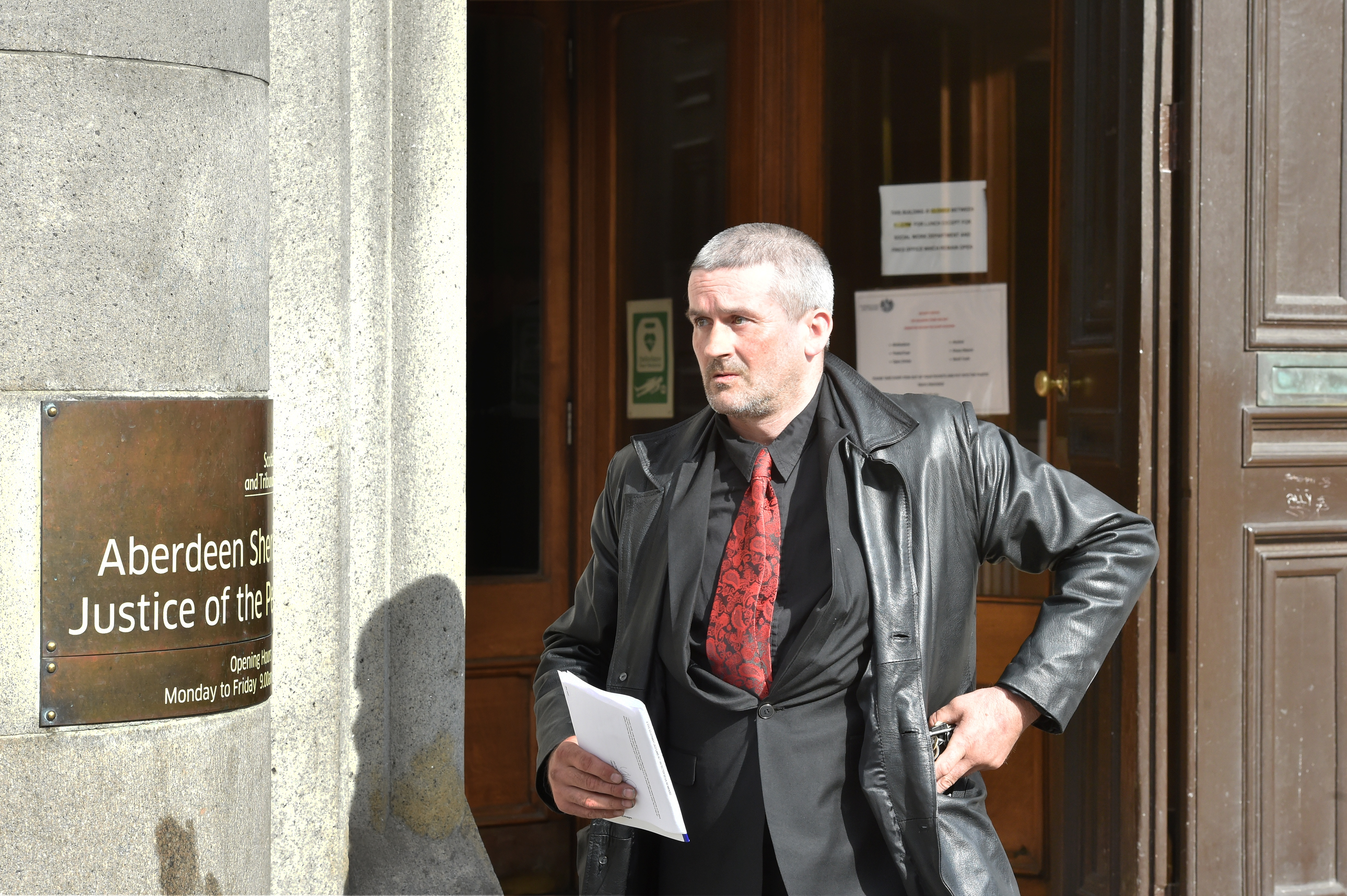 Kevin Robertson pictured leaving Aberdeen Sheriff Court.