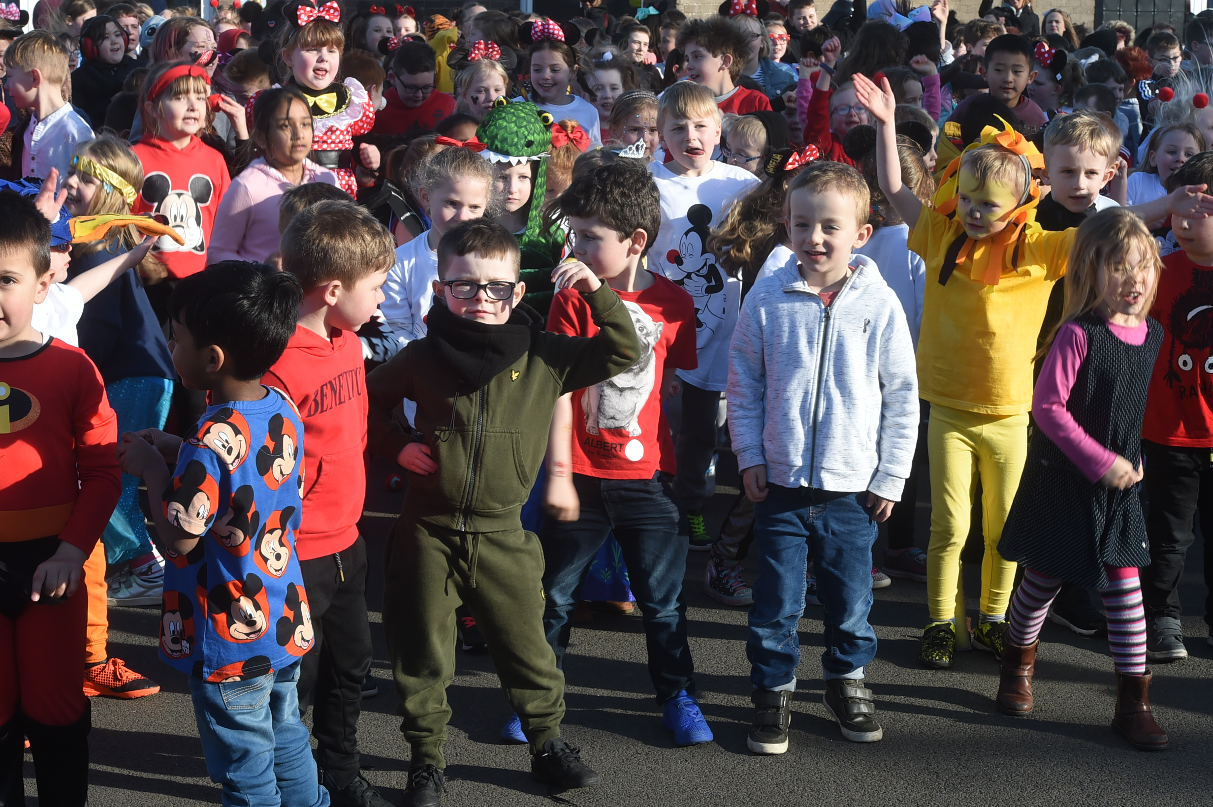 Balmedie Primary School took part in a huge sponsored flash-mob to raise funds for Comic Relief