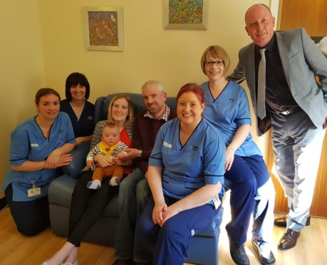 """Robert and Hannah Toohill returned to SCBU with their seven month old son Fraser to thank staff for their """"amazing"""" care in the weeks following his birth."""