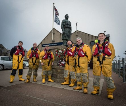Anne Mould with members of the Fraserburgh Lifeboat crew in 2018