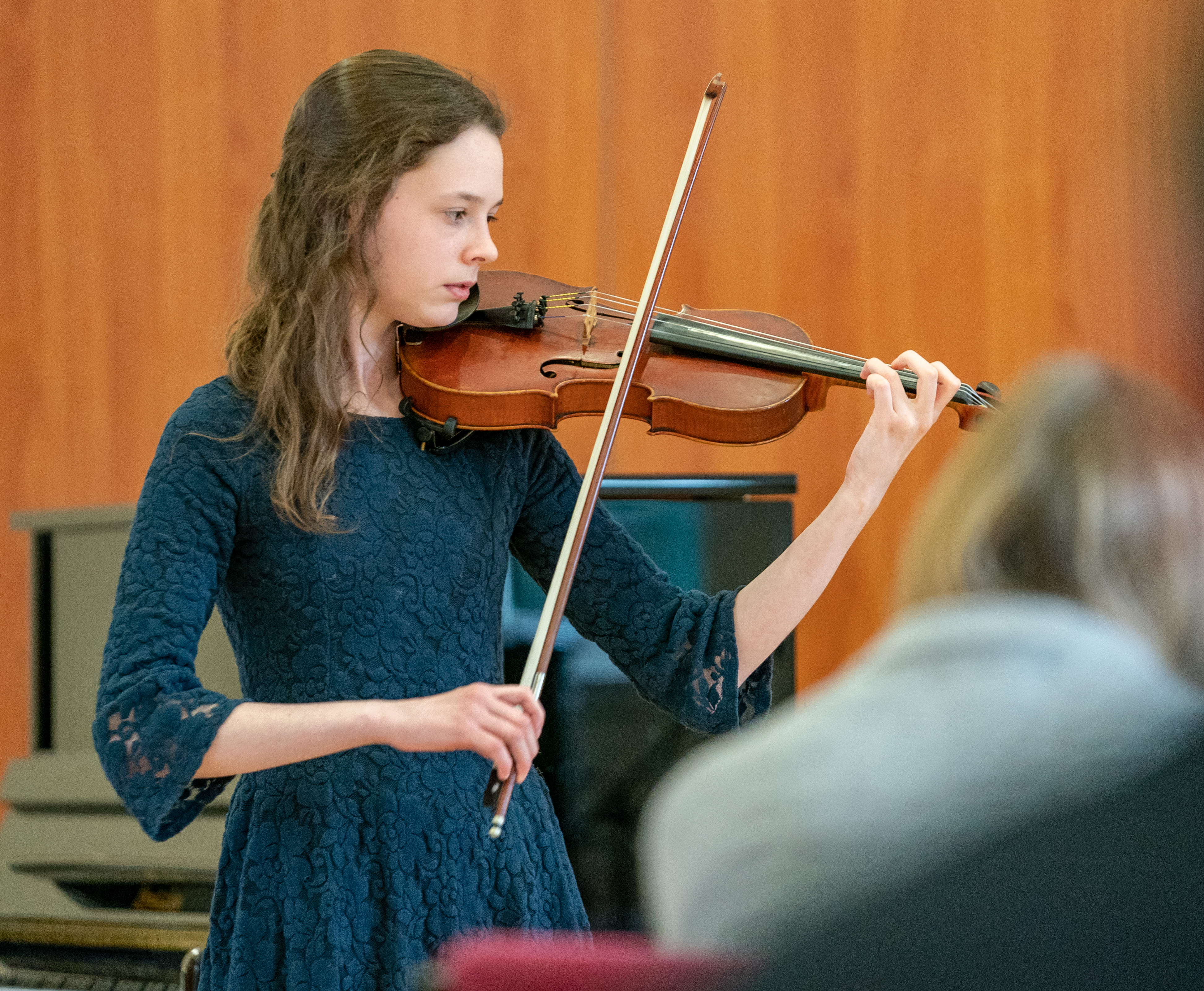 This is from the 48th Annual Festival of Scots Fiddle Music takes place in Elgin, where fiddle players across the north-east come to compete in the competition. It was held in Williamson Hall, Duff Avenue, Elgin, Moray, Scotland on Sauturday 27 April 2019. PICTURE CONTENT:- Charlotte Slater from Ellon plays to win the 13-16yrs, March, Strathspey and Reel.