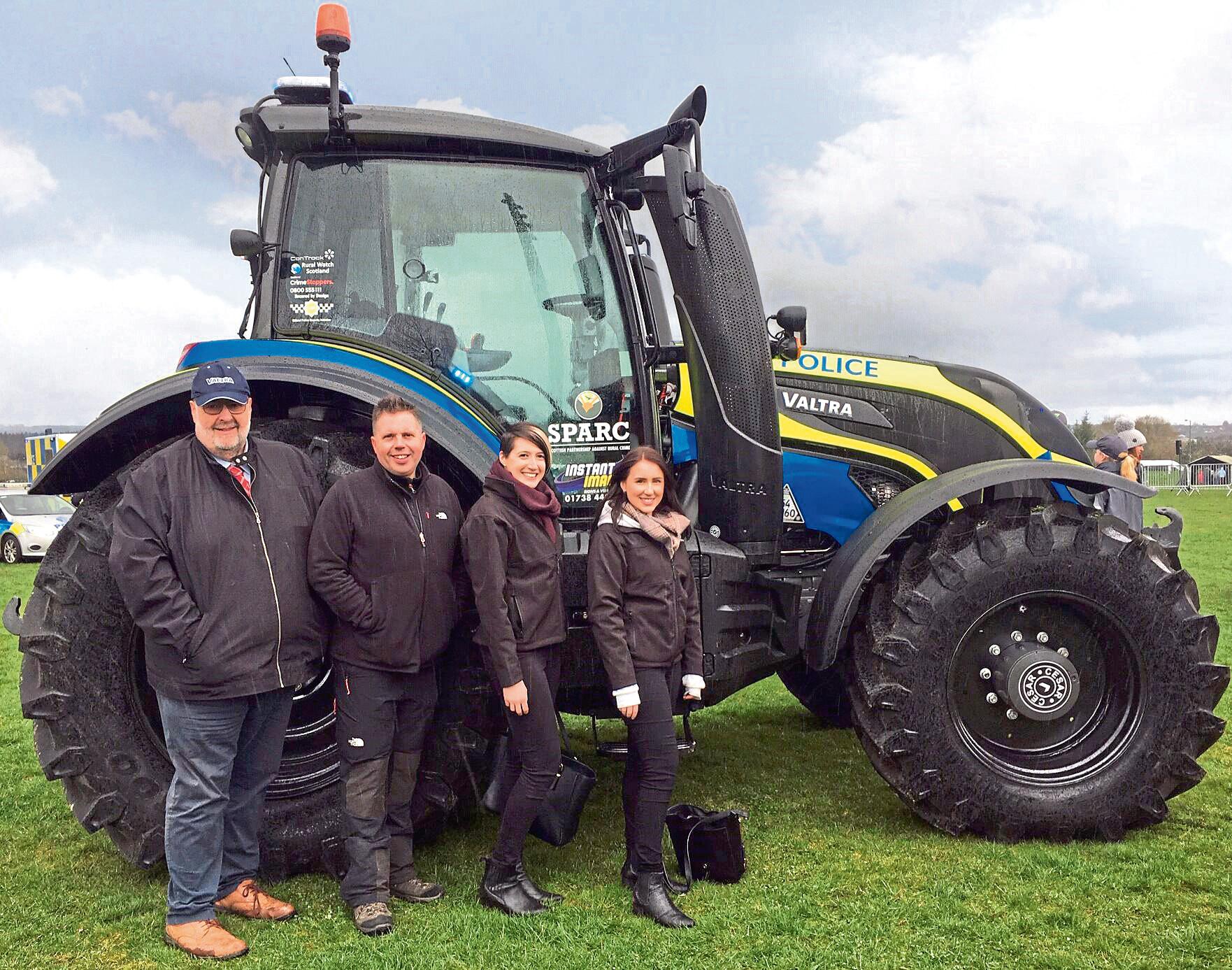 Hamilton Ross Group Valtra Expert, Brian Hamilton; Police Scotland National Rural Crime Co-ordinator, Alan Dron; Hamilton Ross Group Marketing Manager, Corrine McConnachie and Marketing Assistant, Rachel Mullin.