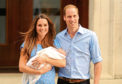 The Duke and Duchess of Cambridge outside St Mary's Hospital with their first baby, Prince George.