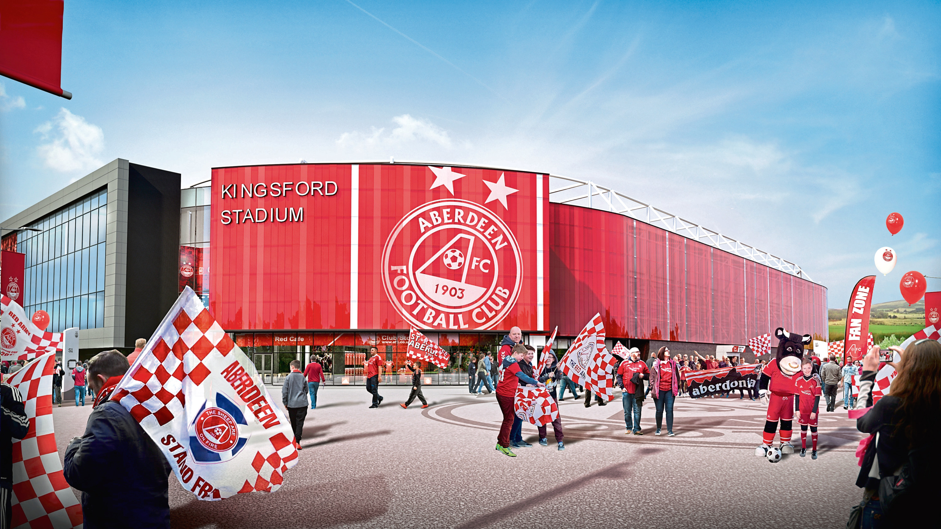 The planned Aberdeen FC stadium at Kingsford.